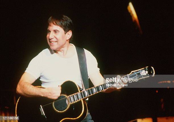 Paul Simon performs on stage London 1986