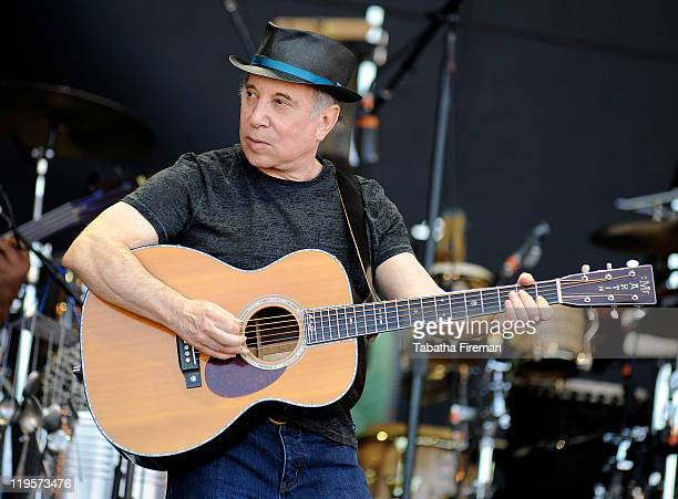 Paul Simon performs on the Pyramid stage during the fourth and final day of Glastonbury Festival 2011 at Worthy Farm on June 26 2011 in Glastonbury...