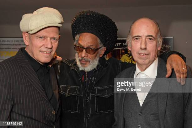 """Paul Simonon, Don Letts and Mick Jones attend the BFI Southbank's screening of Don Letts'""""The Clash: Westway To The World"""" on December 14, 2019 in..."""