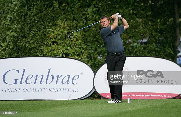 Paul Simpson of West Berkshire GC tees off on the first hole enroute to shooting a qualifying score of 60 during the Glenbrae Fourball PGA South...