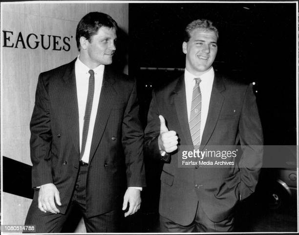 Paul Sironen is given not guilty at the Rugby tribunalWayne Pearce with Paul Sironen May 19 1987