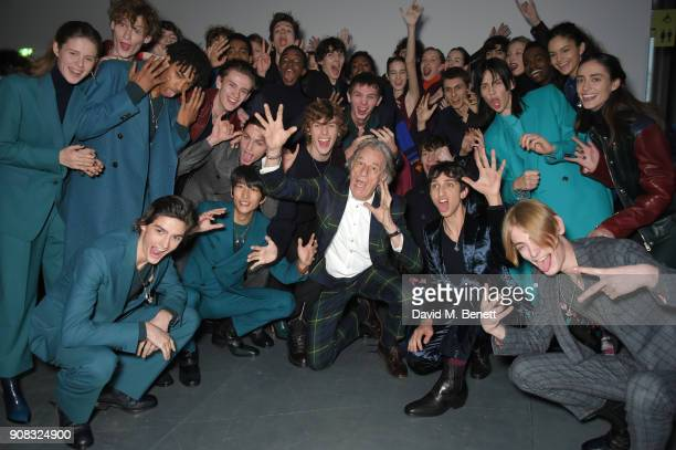 Paul Smith and models backstage at the Paul Smith AW18 Men's and Women's Show on January 21 2018 in Paris France