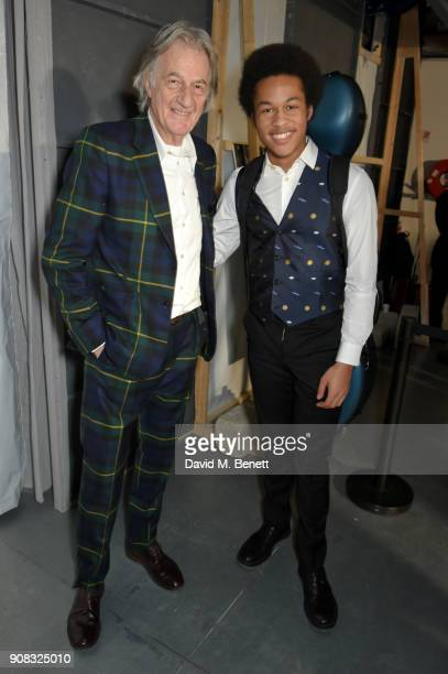 Paul Smith and Sheku Kinneh Mason backstage at the Paul Smith AW18 Men's and Women's Show on January 21 2018 in Paris France