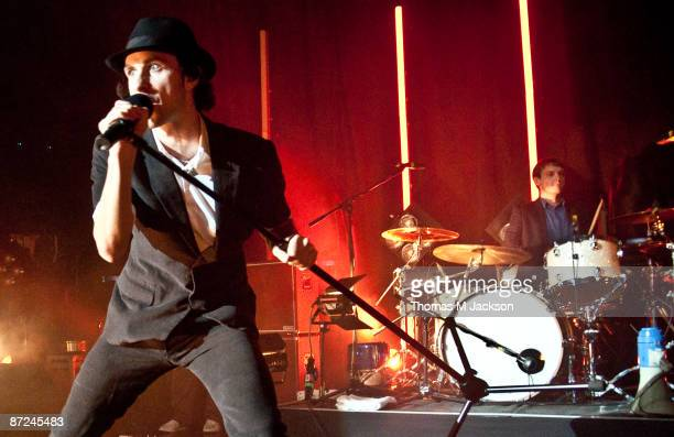 Paul Smith and Tom English of Maximo Park perform on stage at O2 Academy on May 13, 2009 in Newcastle upon Tyne, England.