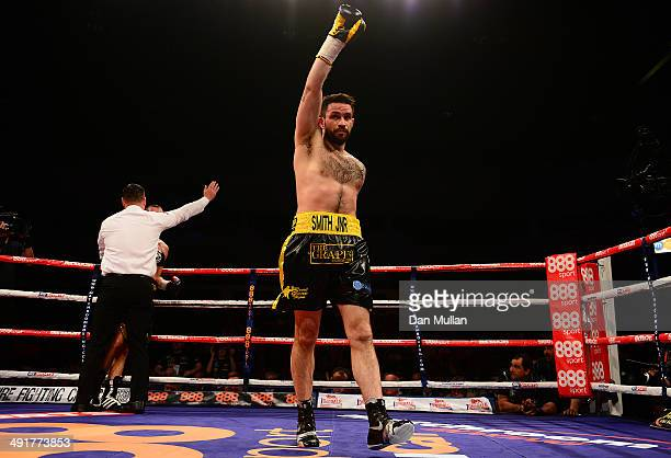 Paul Smith celebrates as the Referee stops his fight against David Sarabia during their Super Middleweight bout at the Motorpoint Arena on May 17...