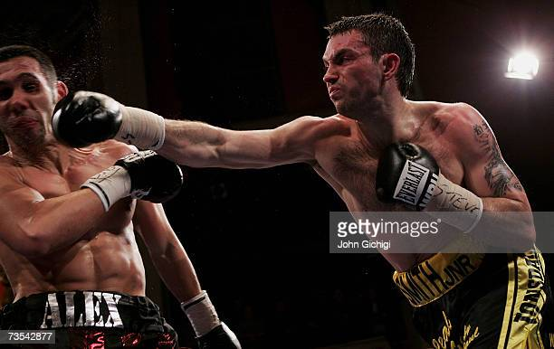 Paul Smith in action against Alexander Polizzi during the WBU international Middleweight championship at Liverpool Olympia on March 10 2007 in...