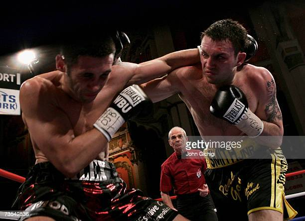 Paul Smith in action against Alexander Polizzi during the WBU international Middleweight championship on March 10 2007 at Liverpool Olympia in...