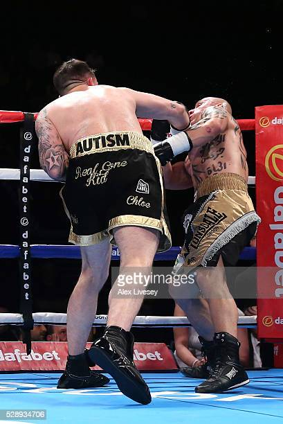 Paul Smith knocks down Bronislav Kubin to win the SuperMiddleweight Contest between Paul Smith and Bronislav Kubin at Manchester Arena on May 07 2016...