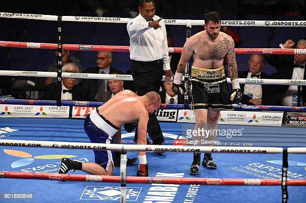 Paul Smith knocks down Daniel Regi during a Light heavyweight contest at The O2 Arena on September 10 2016 in London England