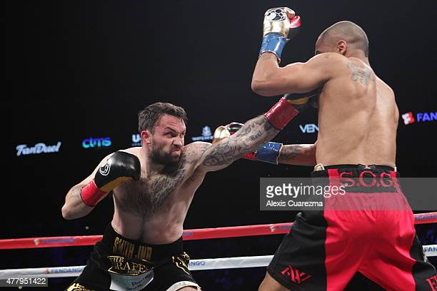 Paul Smith lands a jab on Andre Ward during their Cruiserweight fight at ORACLE Arena on June 20 2015 in Oakland California