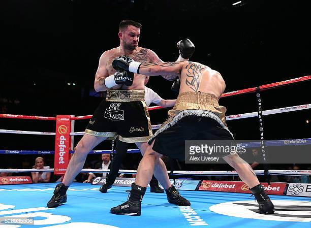 Paul Smith lands a left shot on Bronislav Kubin during the SuperMiddleweight Contest between Paul Smith and Bronislav Kubin at Manchester Arena on...