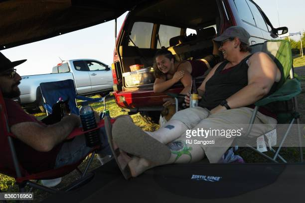 Paul Smith left his daughter Ceilidh center and wife Tabitha camp at Over the Hill Campground next to Carhenge on August 20 2017 in Alliance Nebraska...