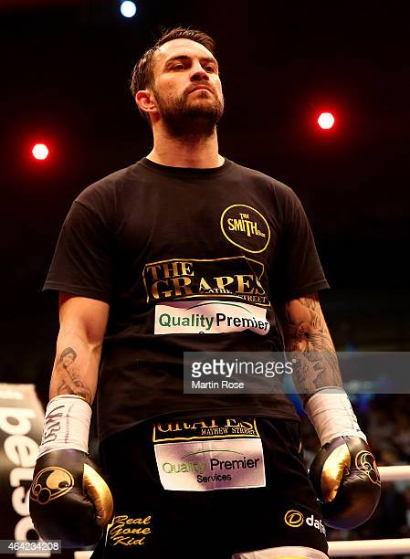 Paul Smith of Great Britain looks on before the WBO World Championship Super Middleweight title fight at o2 World on February 21 2015 in Berlin...