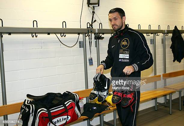 Paul Smith of Great Britain prepares for the fight in the changing room before the WBO World Championship Super Middleweight title fight at...