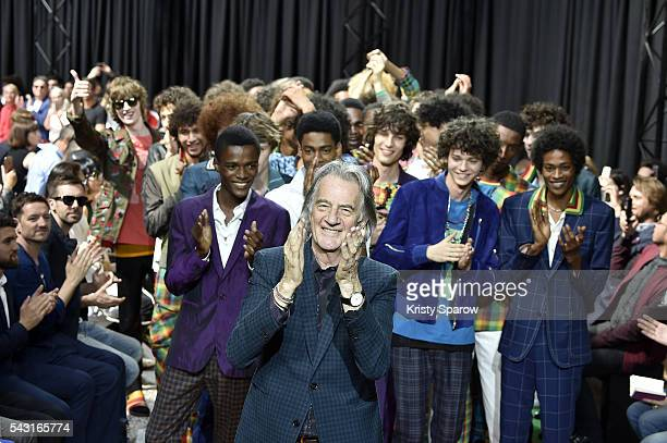 Paul Smith poses with models during the Paul Smith Menswear Spring/Summer 2017 show as part of Paris Fashion Week on June 26 2016 in Paris France