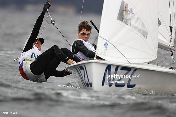 Paul SnowHansen of New Zealand and Daniel Willcox of New Zealand compete in the Men's 470 class on Day 5 of the Rio 2016 Olympic Games at the Marina...