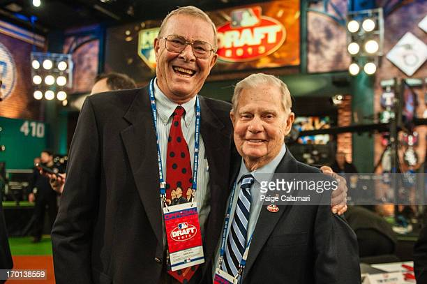 Paul Snyder poses with Art Stewart during the 2013 FirstYear Player Draft at MLB Network's Studio 42 on June 6 2013 in Secaucus New Jersey