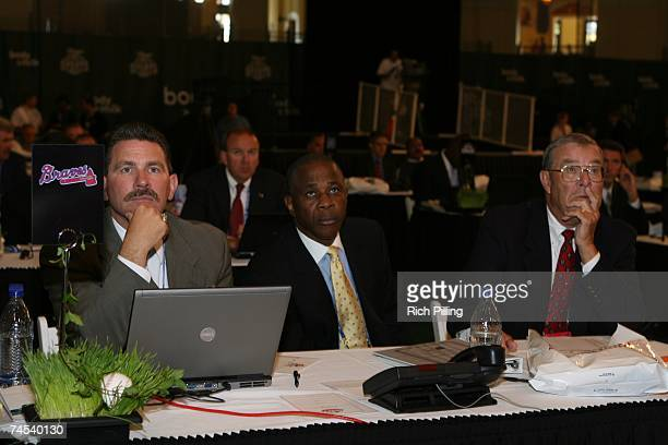 Paul Snyder, Ralph Garr and Kurt Kemp of the Atlanta Braves look on during the 2007 First-year player draft at The Milk House in Disney's Wide World...