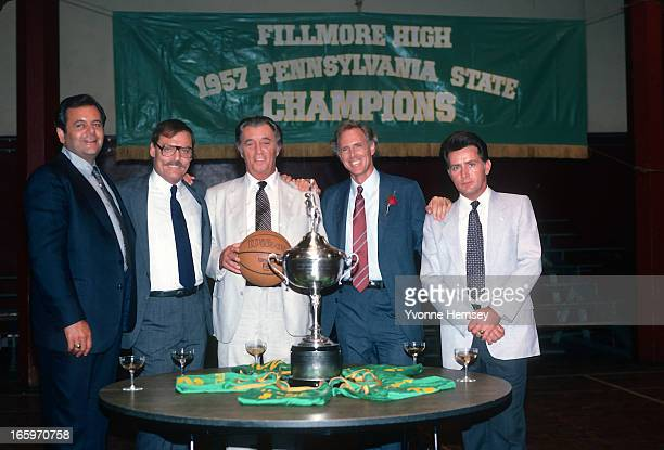Paul Sorvino Stacy Keach Robert Mitchum Bruce Dern and Martin Sheen pose for a photograph on the set of the movie 'That Championship Season' July 23...