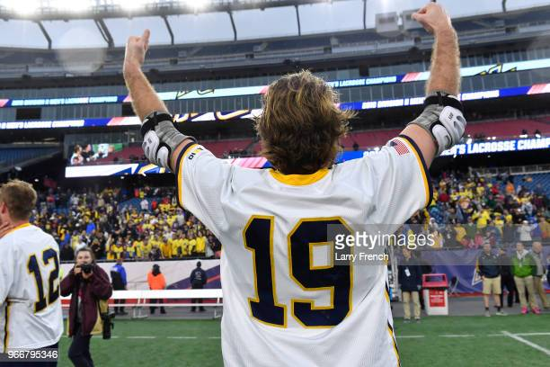 Paul Spinney of Merrimack College celebrates their victory over Saint Leo University during the Division II Men's Lacrosse Championship held at...