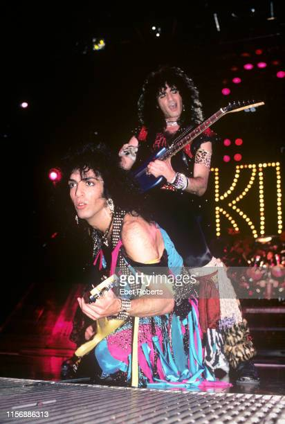 Paul Stanley and Bruce Kulick performing with KISS at the Meadowlands in East Rutherford New Jersey on March 29 1985