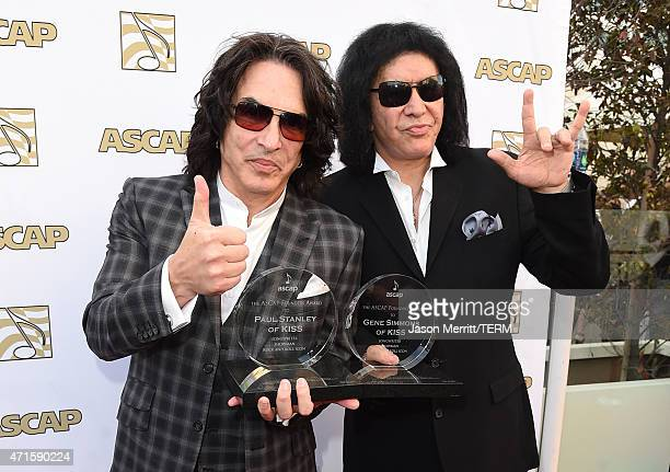 Paul Stanley and Gene Simmons attend the 32nd Annual ASCAP Pop Music Awards held at The Loews Hollywood Hotel on April 29 2015 in Hollywood California