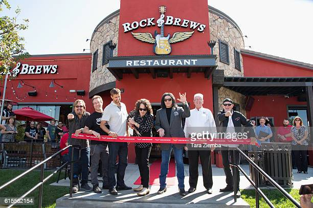 Paul Stanley and Gene Simmons attend the ribbon cutting ceremony for Rock Brews on October 18 2016 in Corona California