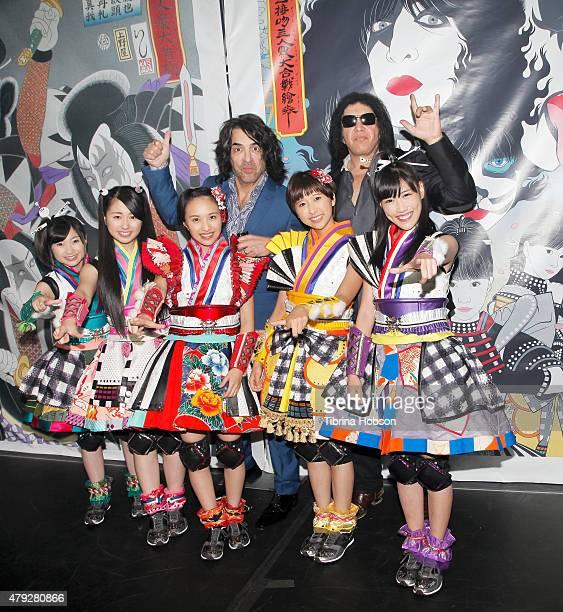 Paul Stanley and Gene Simmons of KISS and Momoka Ariyasu Ayaka Sasaki Kanako Momota Shiori Tamai and Reni Takagi of MCZ attend the KISS press...