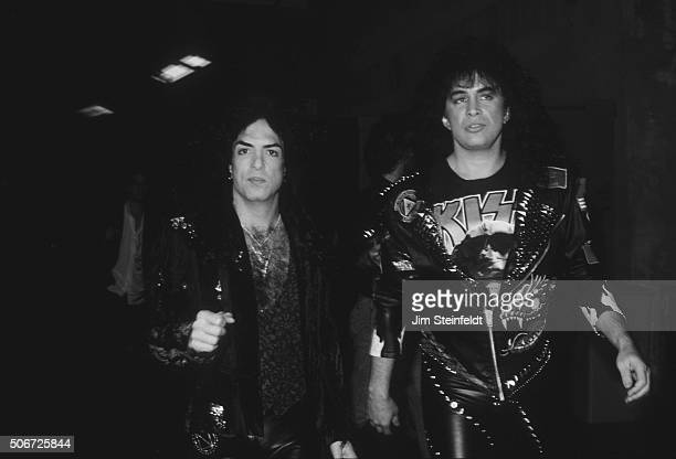 Paul Stanley and Gene Simmons of the rock band KISS backstage on the Crazy Nights Tour at the St Paul Civic Center in St Paul Minnesota on January 12...