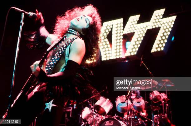 Paul Stanley and Peter Criss performing with American heavy metal group Kiss on their second UK appearance at the Hammersmith Odeon London 16th May...