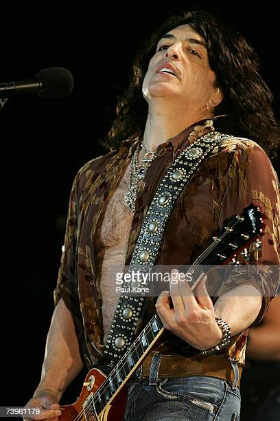 """Paul Stanley, front man of the band """"Kiss"""", performs on stage in concert during his solo """"Live to Win"""" tour at the Burswood Theatre on April 24, 2007..."""