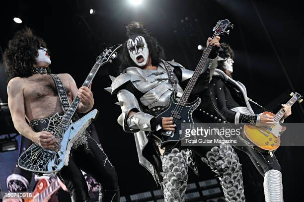 Paul Stanley Gene Simmons and Tommy Thayer of American rock group Kiss performing live on stage at Download Festival on June 13 2008