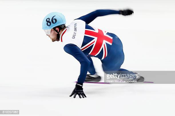 Paul Stanley of Great Britain competes in the 500m Mens Final during ISU Short Track Speed Skating World Cup held at The Sportboulevard on February...