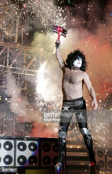 Paul Stanley of Kiss performs at 'Rockin' The Corps An American Thank You Celebration Concert' at Camp Pendleton on April 1, 2005 in San Diego,...
