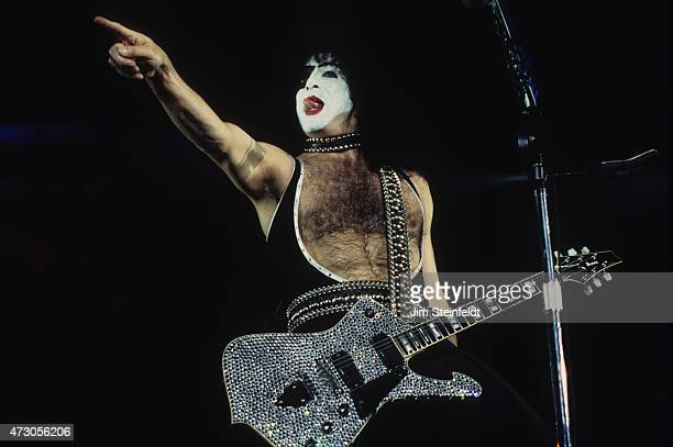 Paul Stanley of the rock band KISS performs at the Great Western Forum in Inglewood California on August 23 1996