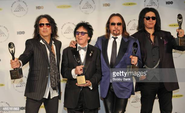 Paul Stanley, Peter Criss, Ace Frehley and Gene Simmons of KISS attends the 29th Annual Rock And Roll Hall Of Fame Induction Ceremony at Barclays...