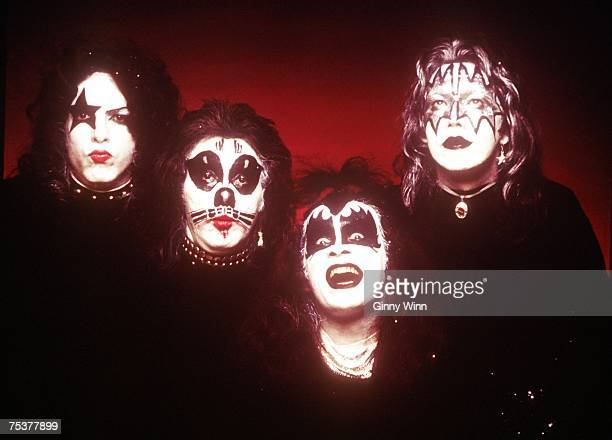 Paul Stanley, Peter Criss, Gene Simmons and Paul Stanley of the rock and roll band Kiss pose for a portrait for the cover of their self-entitled...