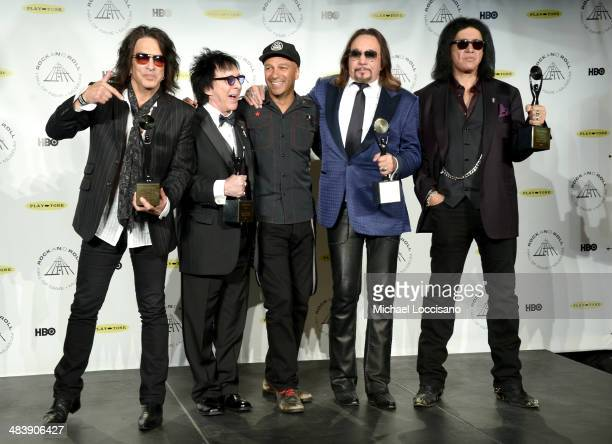 Paul Stanley Peter Criss Tom Morello Ace Frehley and Gene Simmons attend the 29th Annual Rock And Roll Hall Of Fame Induction Ceremony at Barclays...