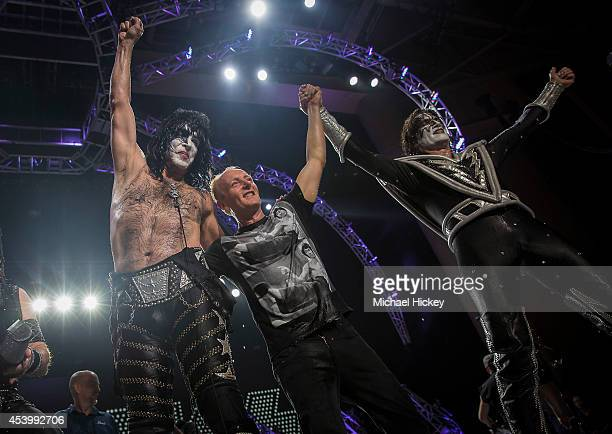 Paul Stanley Phil Collen and Tommy Thayer participates in the ALS Ice Bucket Challenge at Klipsch Music Center on August 22 2014 in Noblesville...