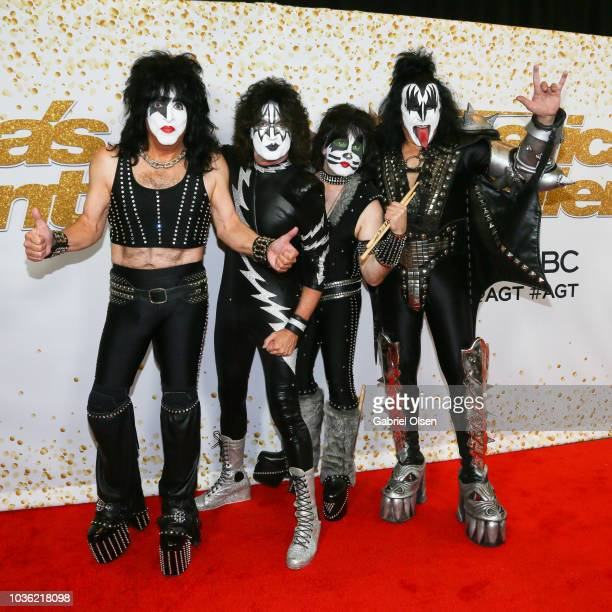 Paul Stanley Tommy Thayer Eric Singer and Gene Simmons of Kiss attend the 'America's Got Talent' Season 13 Finale Live Show red carpet at Dolby...