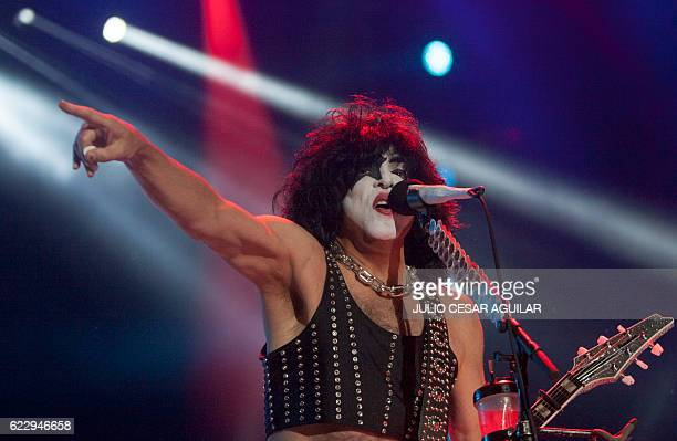 Paul Stanley vocalist for US rock band Kiss performs during the Corona Northside 2016 festival in Monterrey Mexico's Nuevo Leon on November 12 2016 /...