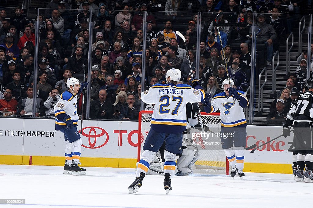 Paul Stastny #26, Alex Pietrangelo #27 and David Backes #42 of the St. Louis Blues celebrate a goal during a game against the Los Angeles Kings at STAPLES Center on December 18, 2014 in Los Angeles, California.
