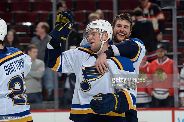 Paul Stastny and Alex Pietrangelo of the St Louis Blues celebrate after defeating the Chicago Blackhawks 4 to 3 in Game Four of the Western...