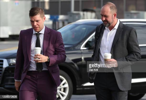 Paul Stastny and head coach Pete DeBoer of the Vegas Golden Knights arrive at TMobile Arena prior to a game against the Buffalo Sabres on February 28...