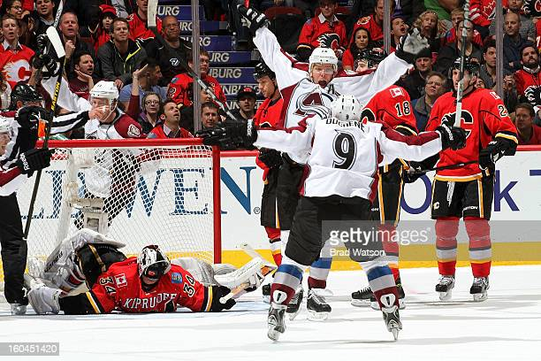 Paul Stastny and Matt Duchene of the Colorado Avalanche celebrate a goal against the Calgary Flames on January 31 2013 at the Scotiabank Saddledome...