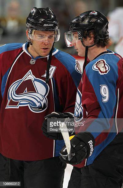 Paul Stastny and Matt Duchene of the Colorado Avalanche talk during warm ups prior to facing the Calgary Flames at Pepsi Center on November 9 2010 in...