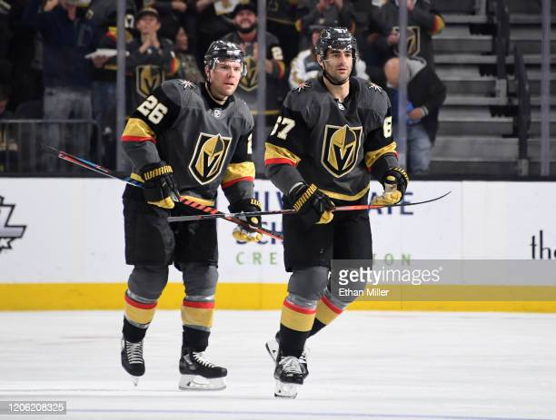 Paul Stastny and Max Pacioretty of the Vegas Golden Knights skate toward their bench after Pacioretty scored a firstperiod powerplay goal against the...
