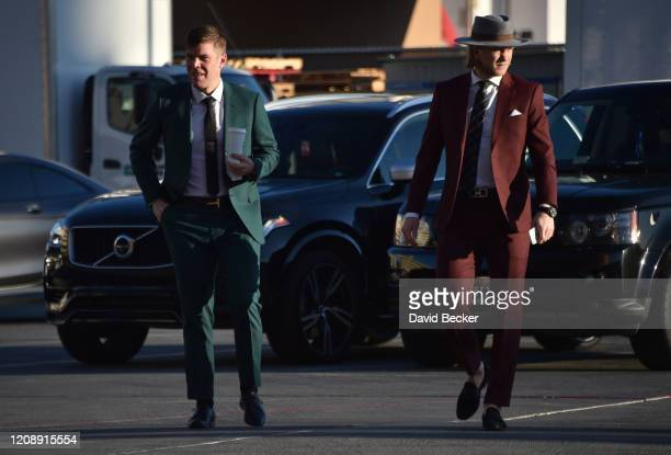 Paul Stastny and William Karlsson of the Vegas Golden Knights arrive at TMobile Arena prior to a game against the Edmonton Oilers on February 26 2020...