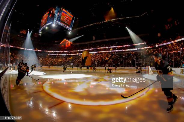 Paul Stastny and William Karlsson of the Vegas Golden Knights take to the ice prior to puck drop against the Winnipeg Jets at TMobile Arena on...