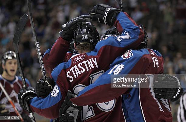 Paul Stastny of the Colorado Avalanche celebrates his first period goal with his teammates against the Dallas Stars during preseason NHL action at...